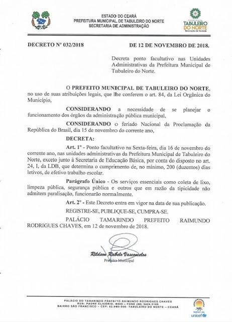 Prefeitura de Tabuleiro do Norte decreta ponto facultativo nesta sexta-feira, dia 16 de novembro de 2018.