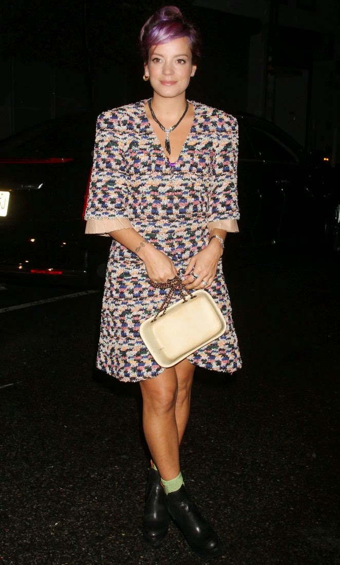 Lily Allen in a multi-coloured dress at 'No. 5 The Film by Baz Luhrman' launch in NYC