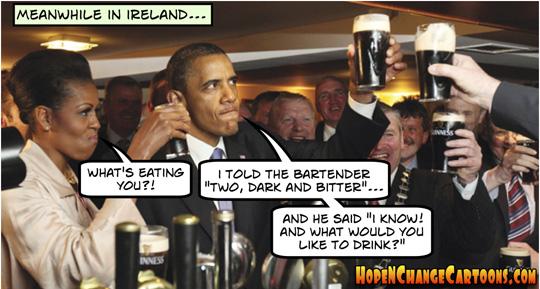 obama, obama jokes, scandals, ireland, G8, summit, Africa, conservative, stilton jarlsberg, hope n' change, hope and change, tea party