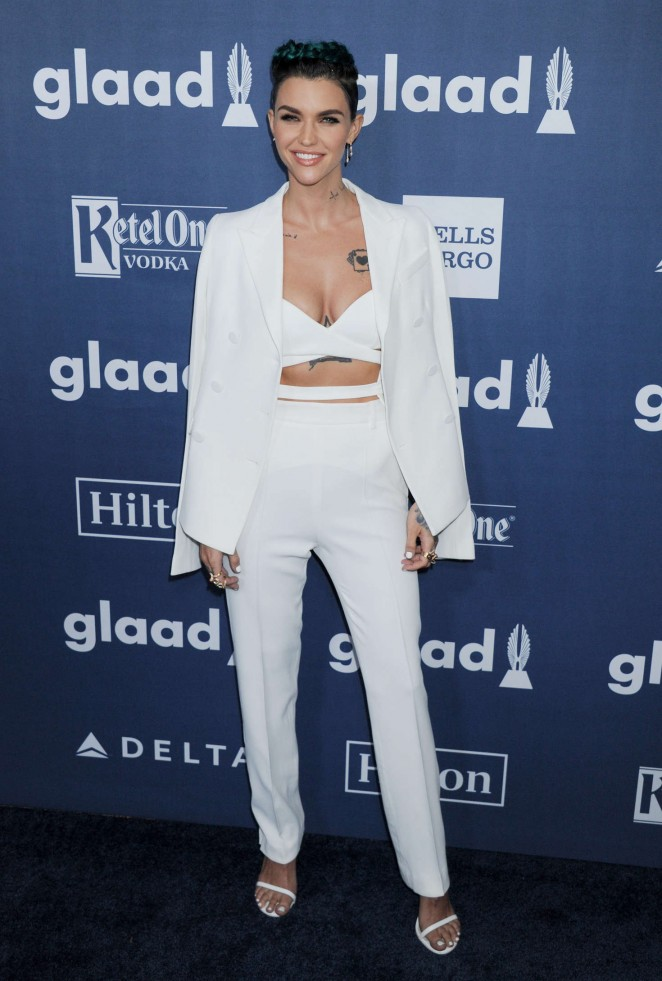 Ruby Rose flashes cleavage at the GLAAD Media Awards 2016