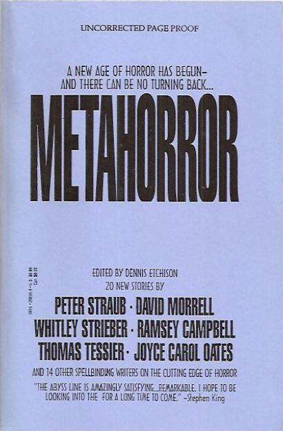 Too Much Horror Fiction Metahorror Ed By Dennis Etchison 1992