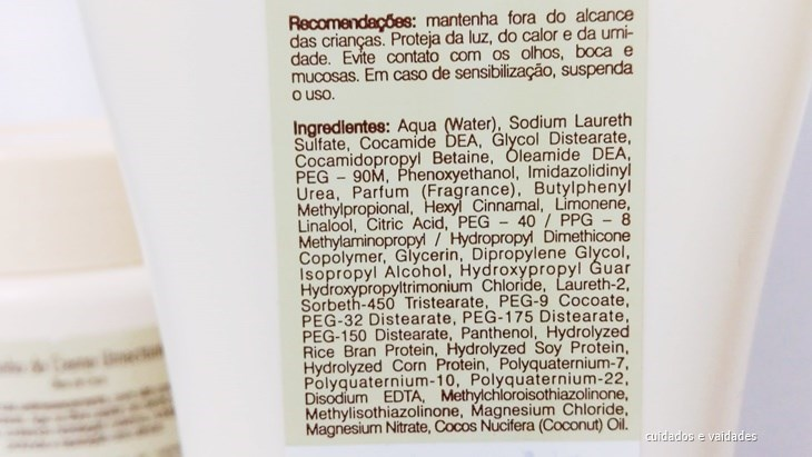 Composição do Shampoo Umectante Óleo de Coco Bio Extratus