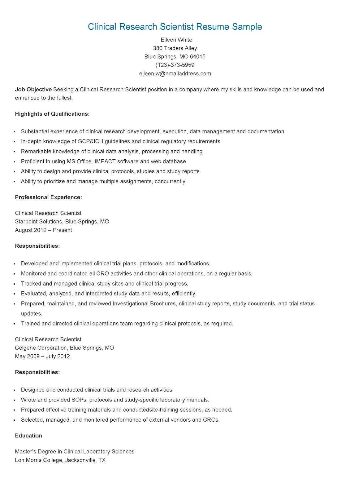 foto de Resume Samples: Clinical Research Scientist Resume Sample