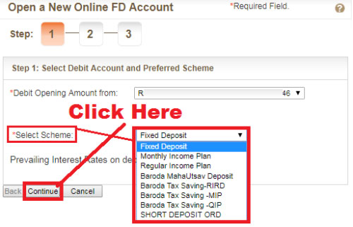 how to open fixed deposit in bank of baroda bank online