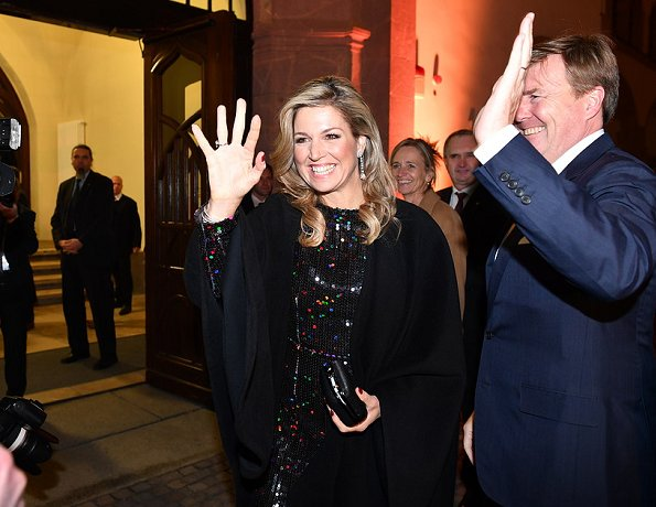 Queen Maxima wore Nina Ricci Sequinned dress from Fall 2015 Collection at dinner