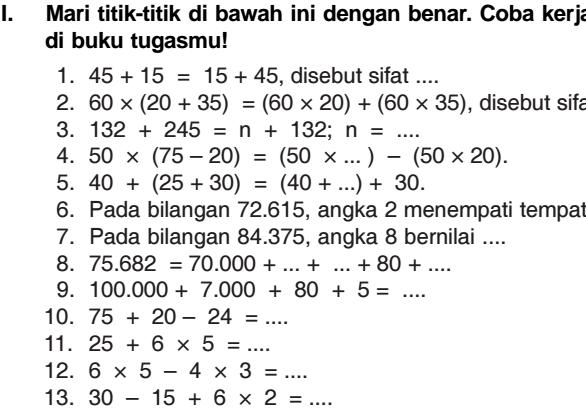 Soal SD Kelas 4 Matematika Semester 1 Tentang Bab Operasi Hitung Bilangan