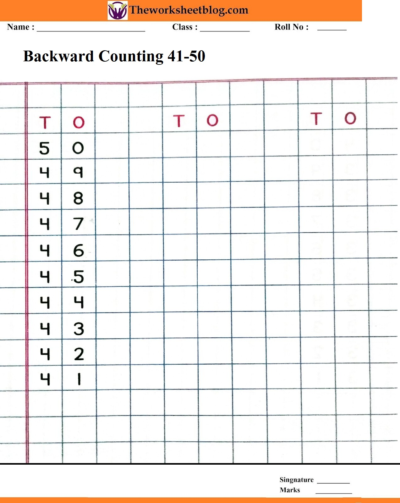 Backward Counting 50 1 Worksheets