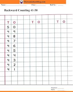 Backward counting 50-41 worksheets
