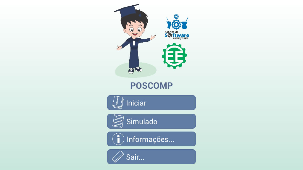Tela inicial do aplicativo Questões para Poscomp