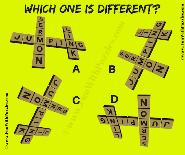It is Odd One Out Quick Crossword Picture Riddle in which you have to find the picture which is different from other three pictures