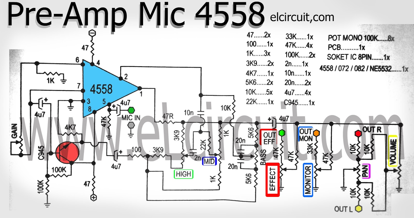 Mic Pre Amplifier using IC 4558 - Electronic Circuit