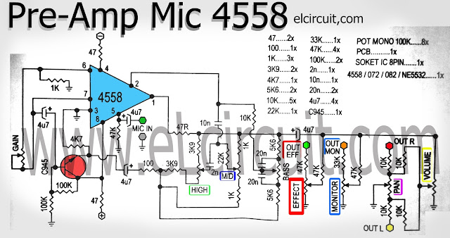 Mic Pre Amplifier using IC 4558 circuit