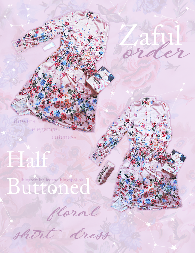 Zaful Half Buttoned Floral Shirt Dress