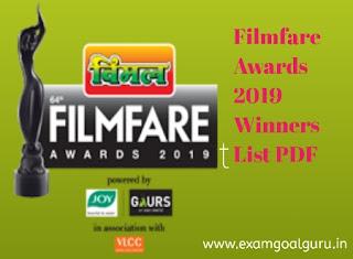 2019 filmfare awards winners complete list