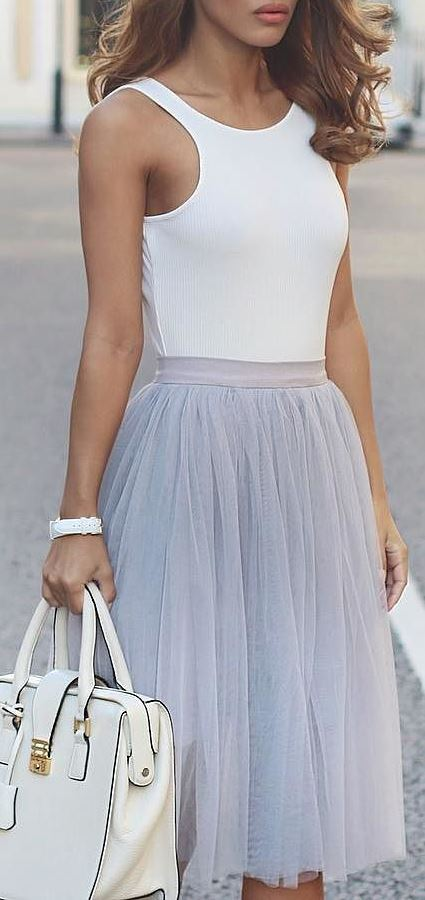 cool summer office style outfit: top + bag + skirt