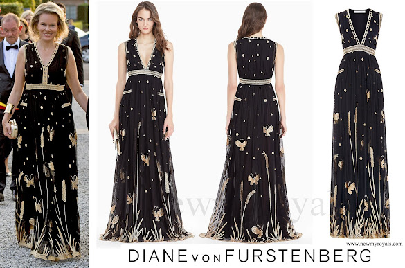 Queen Mathilde wore DVF Vivanette Embroidered Tulle Goddess Gown