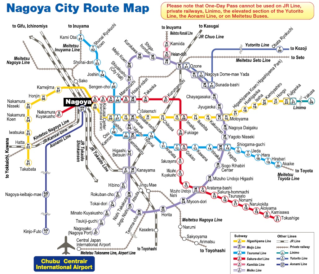 Nagoya Subway Map Pdf.แผนท รถไฟฟ าใต ด นนาโกย า Nagoya Subway Map