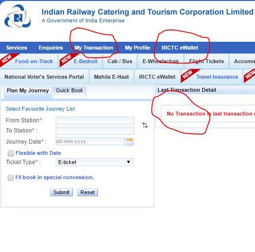 railway online transactions