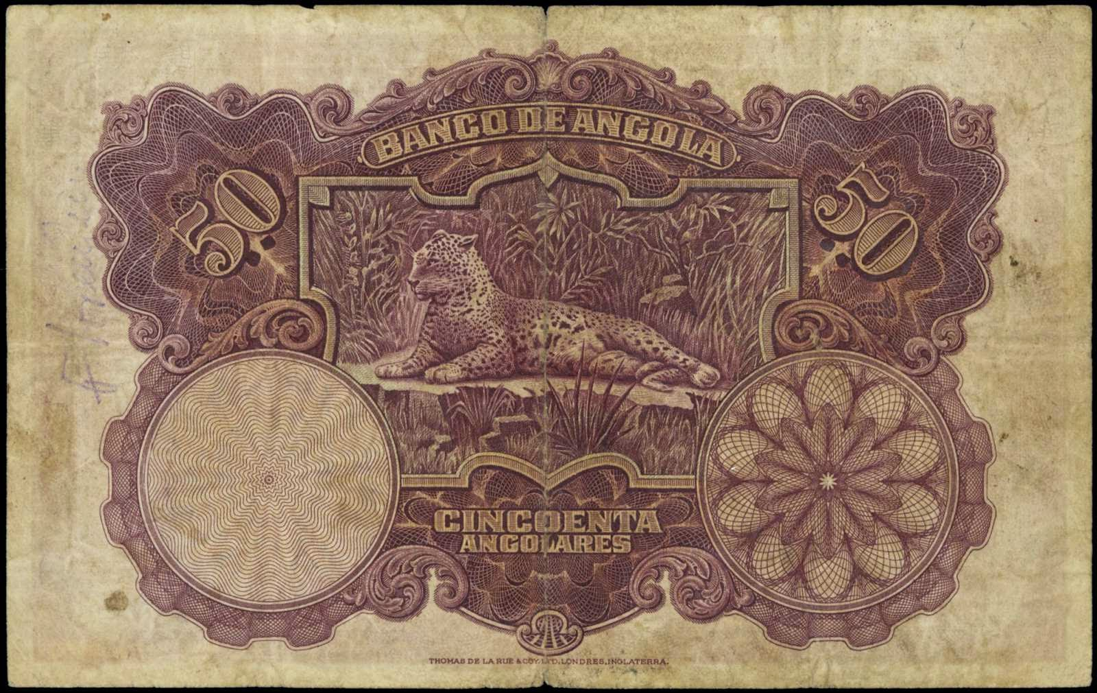 Angola 50 Angolares banknote 1927 Leopard