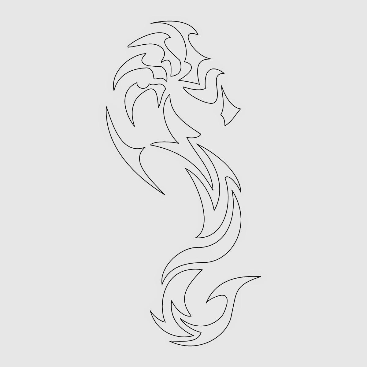 Seahorse tribal tattoo stencil