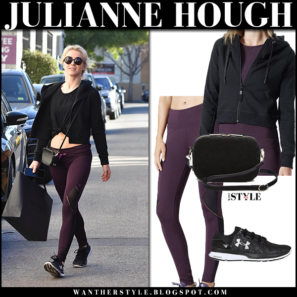 Julianne Hough in purple leggings and black hoodie mpg sport workout fashion january 26