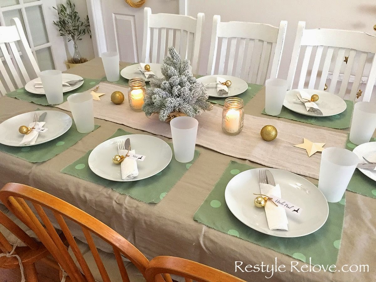 Simple Gold And Green Christmas Dining Table Setting