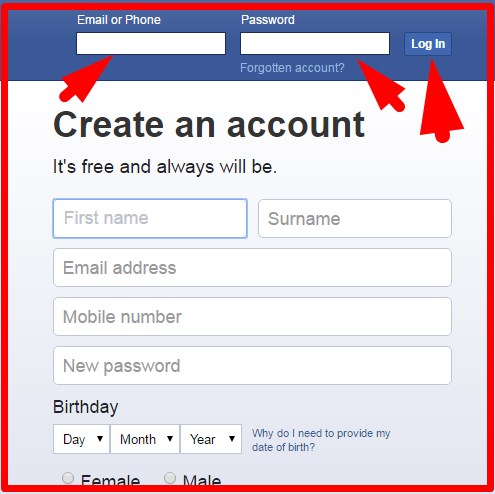 facebook sign in my account