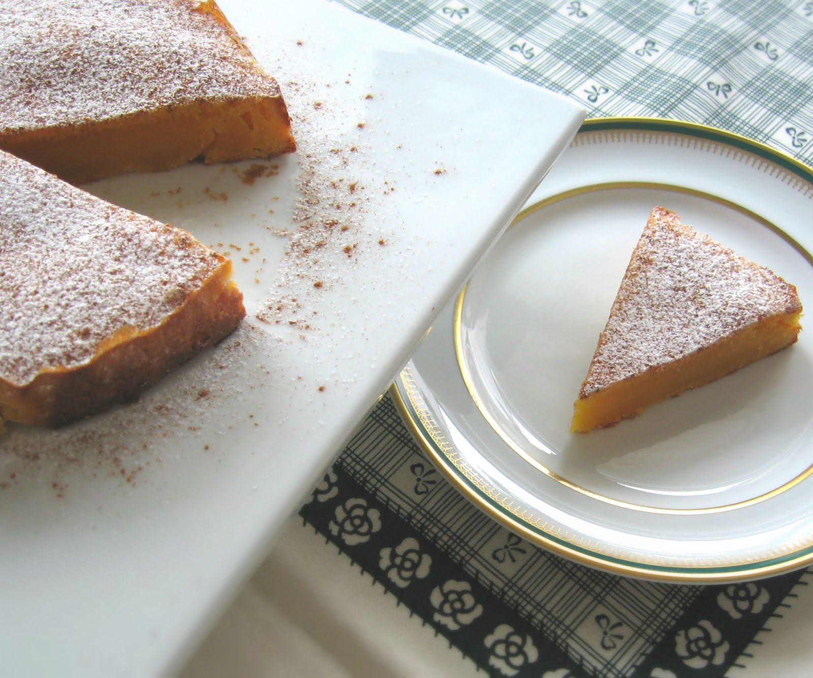 Cake with a slice presented on a small plate