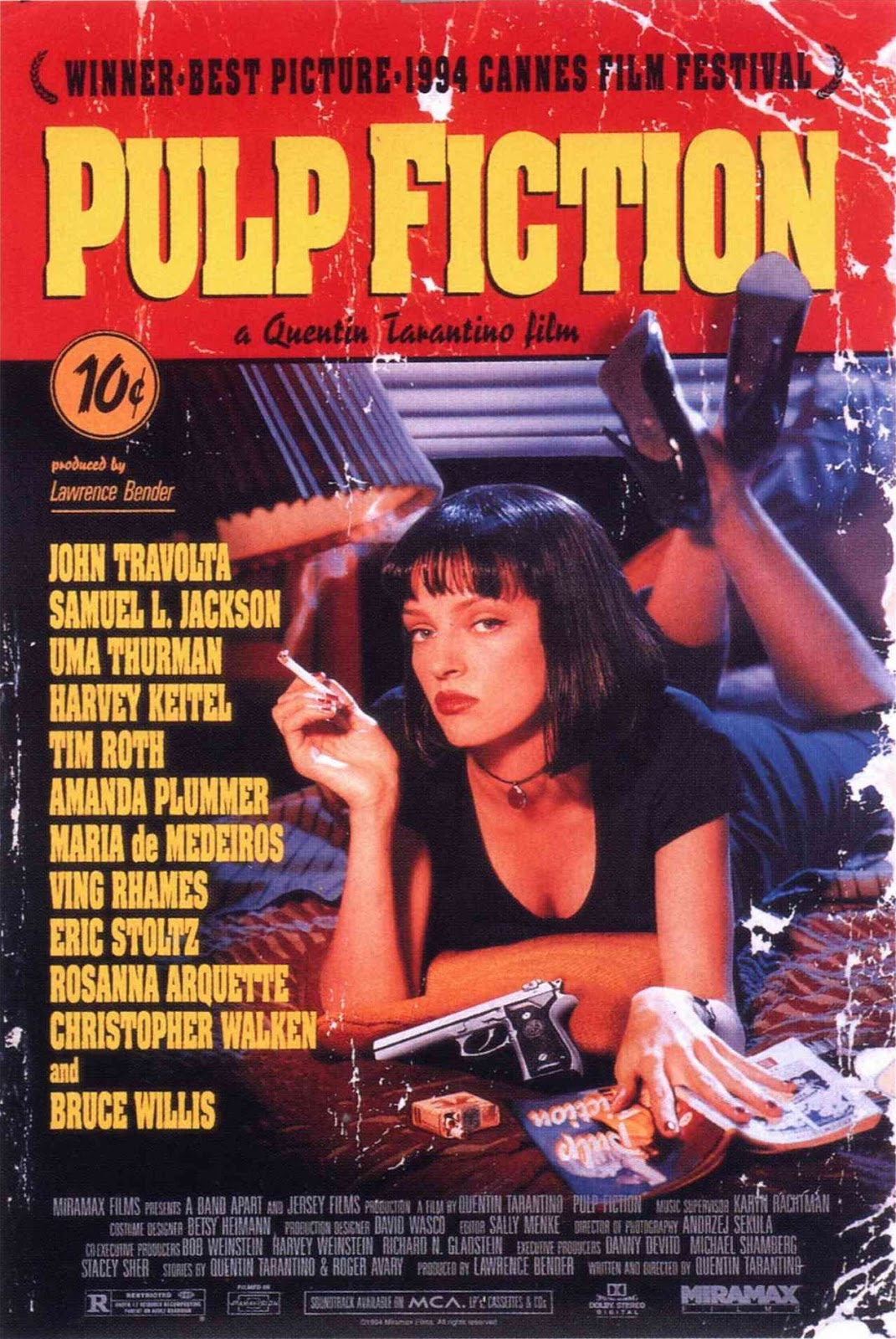 The theatrical release poster for Pulp Fiction. It is designed to look like an old pulp magazine cover and it depicts Uma Thurman lying on a bed with a cigarette in her hand.