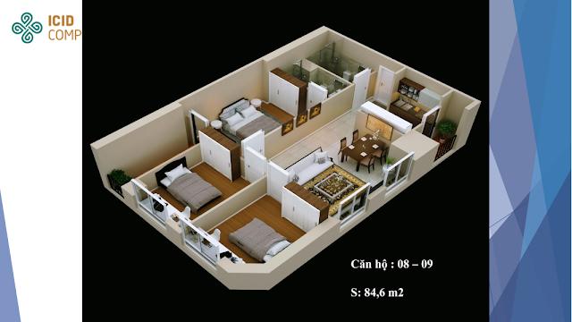 Thiết kế căn hộ 08 - 09 chung cư ICID COMPLEX