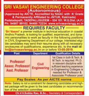 Sri Vasavi Engineering College Tadepalligudem Assistant Professors, Associate Professor Jobs Recruitment 2019