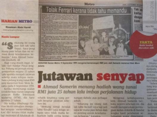 Jadi Jutawan Sekelip Mata Pada Tahun 1991, Setelah 26 Tahun Berlalu Ini Yang Terjadi Padanya