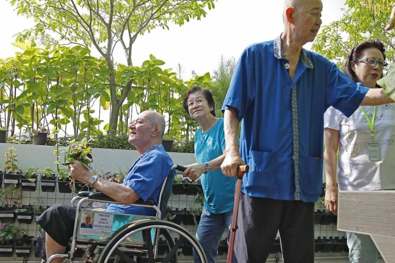 Nursing home resident Tan Soo Siam (far left), 72, says it is much nicer in the therapeutic garden than indoors.