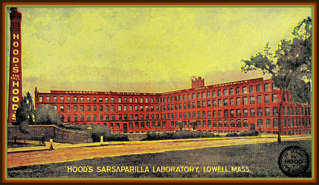 postcard showing lab, chimney in early 20th century