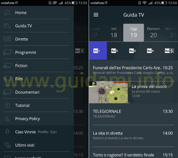 App RaiPlay menu e sezione Guida TV