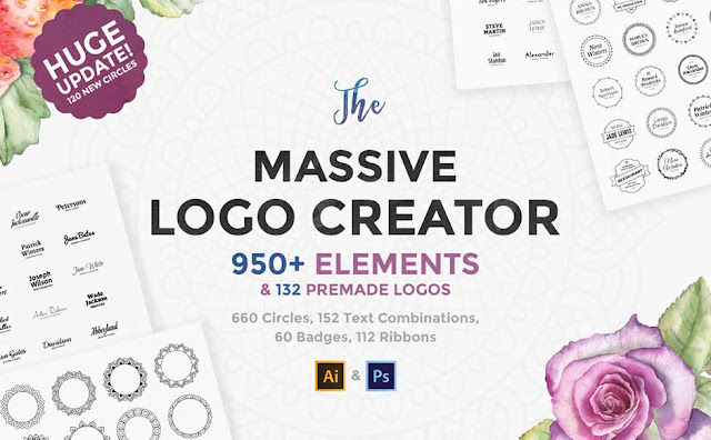 This vector graphics bundle contains a huge array of logo related elements