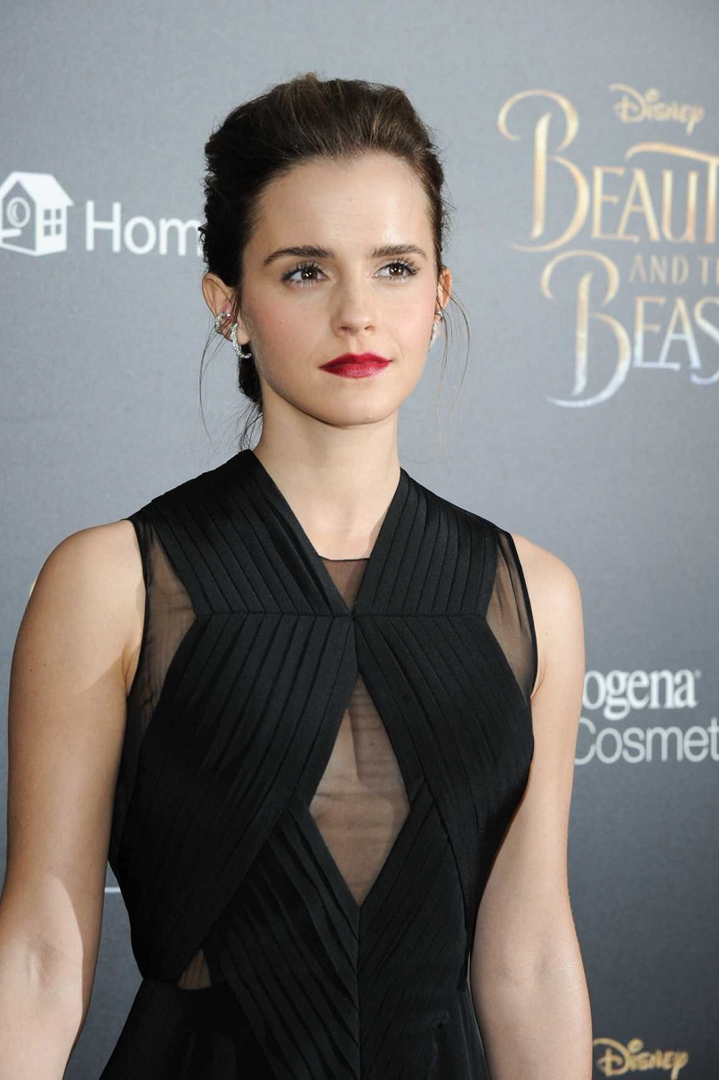Emma flashes cleavage at NY premiere of Beauty And The Beast after being branded a 'hypocrite' for braless Vanity Fair shoot