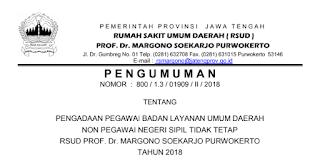 Lowongan Kerja Non PNS Terbaru Tingkat SMA SMK D3 S1 RSUD Prof. Dr. Margono Soekarjo