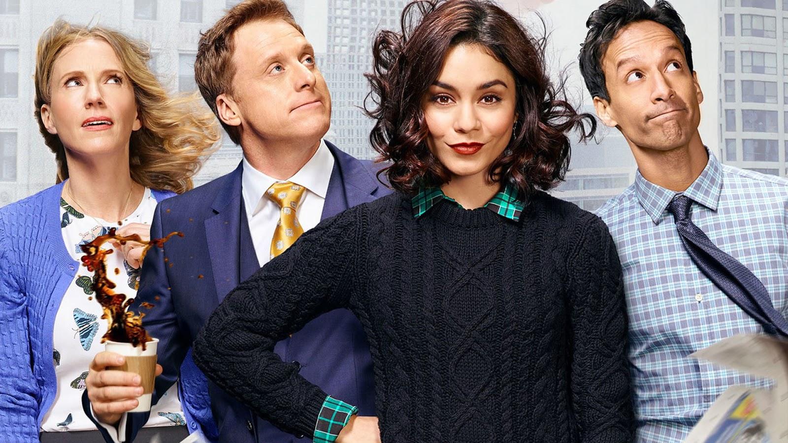 Christina Kirk, Alan Tudyk, Vanessa Hudgens y Danny Pudi en 'Powerless'