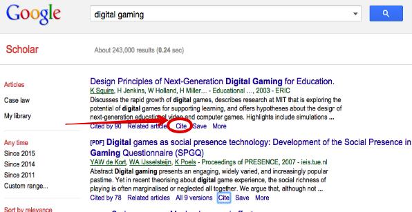Google Scholar Tip Easily Generate Various Citations