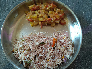 Fire cooked lunch - Maappillai samba beaten rice Coconut rice,  Bottle gourd curry