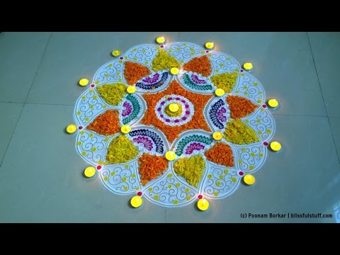 Diwali special easy rangoli using marigold flowers