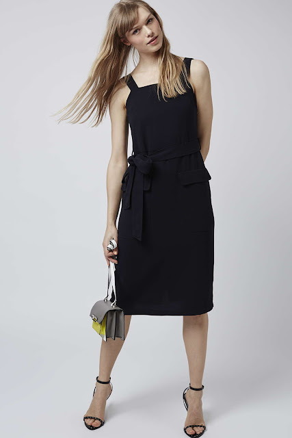 black pinafore midi dress,