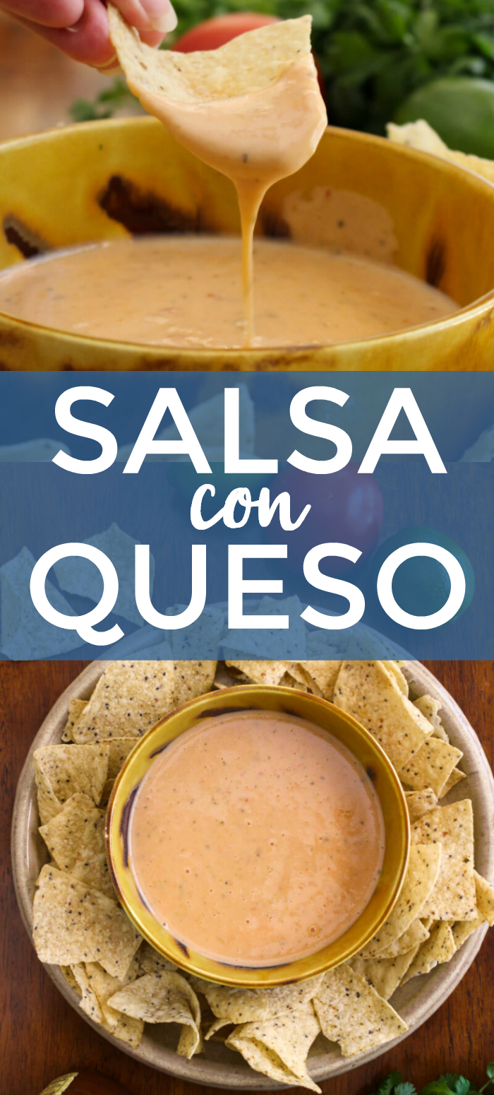 Salsa Con Queso is the perfect blend of melty white queso and spicy salsa. You won't believe how easy it is to make this irresistible three-ingredient cheese dip! #queso #cheesedip #appetizer