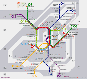 Plano de Cercanías Madrid, edición esquemática. Febrero 2018 - pincha para ampliar el plano