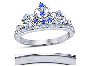 Silver Round Multi-Color Stone Crown Wedding Ring