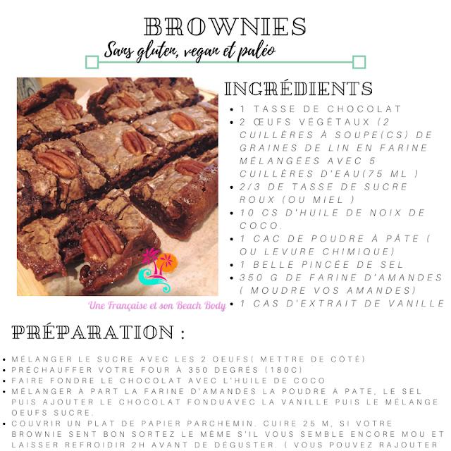 recette de brownie sans lactose, sans gluten, vegan et paléo