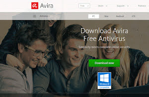 Avira free antivirus software.