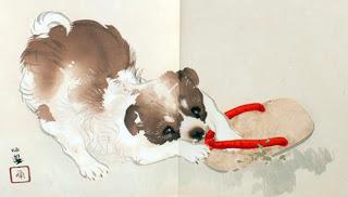 Estampe japonaise chien zori