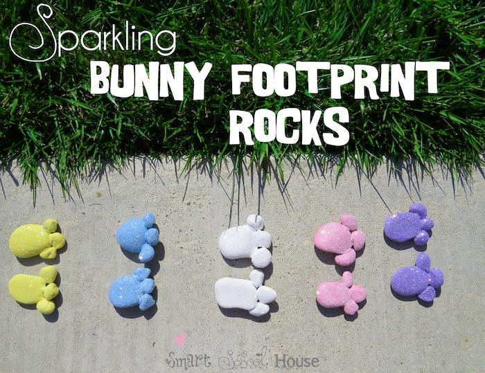 Sparkling Bunny Footprint Rocks